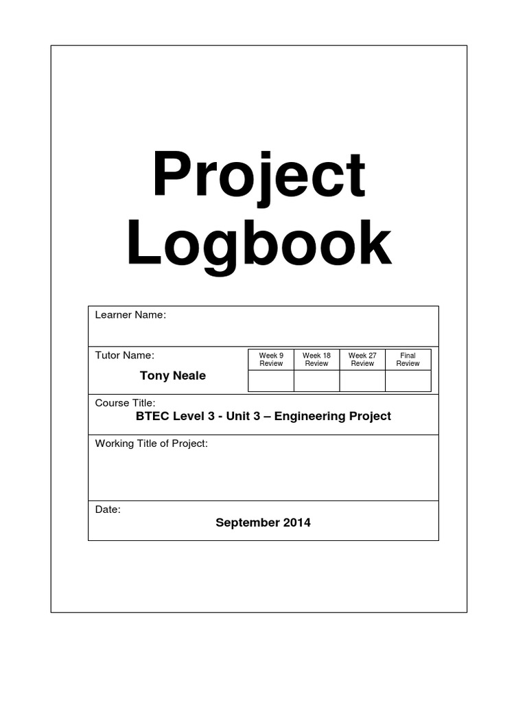 Project Logbook Template Tutor Educational Technology
