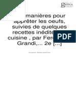 Grandi, Ferdinand. 250 Manières Pour Apprêter Les Oeufs