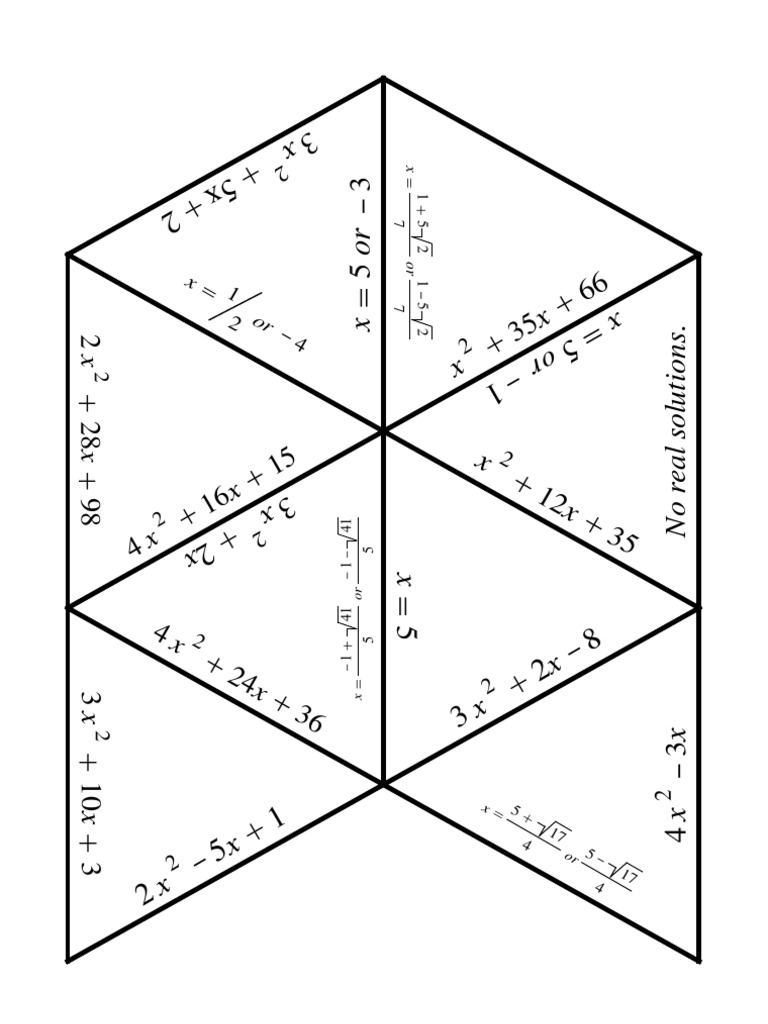 Quadratic Equations Puzzle Quadratic Equation Equations