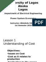 Power System Economics - Unilag Lecture Notes
