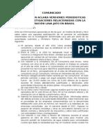 Comunicado Aclaratorio Zaida Sison Sobre Operacion Lavajato en Brasil