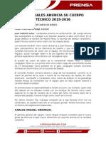 Cardenales Anuncia Cuerpo Técnico 2015-2016