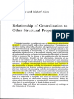 Relationship of Centralisation to Other Structural Properties