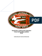 South Africa Taekwon-Do Federation Colour Belt Grading