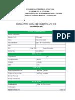 Ficha de Inscrição Diamantina