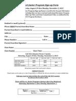 Junior Quickstart Program Signup Form Fall 2015