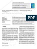 Organics removal from dairy wastewater by electrochemical treatment and residue disposal