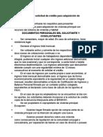Requisitos Para La Solicitud de Crédito Para Adquisición de Vivienda
