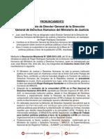 [Nota de Prensa] Sobre nuevo Director General de DDHH en MINJUS