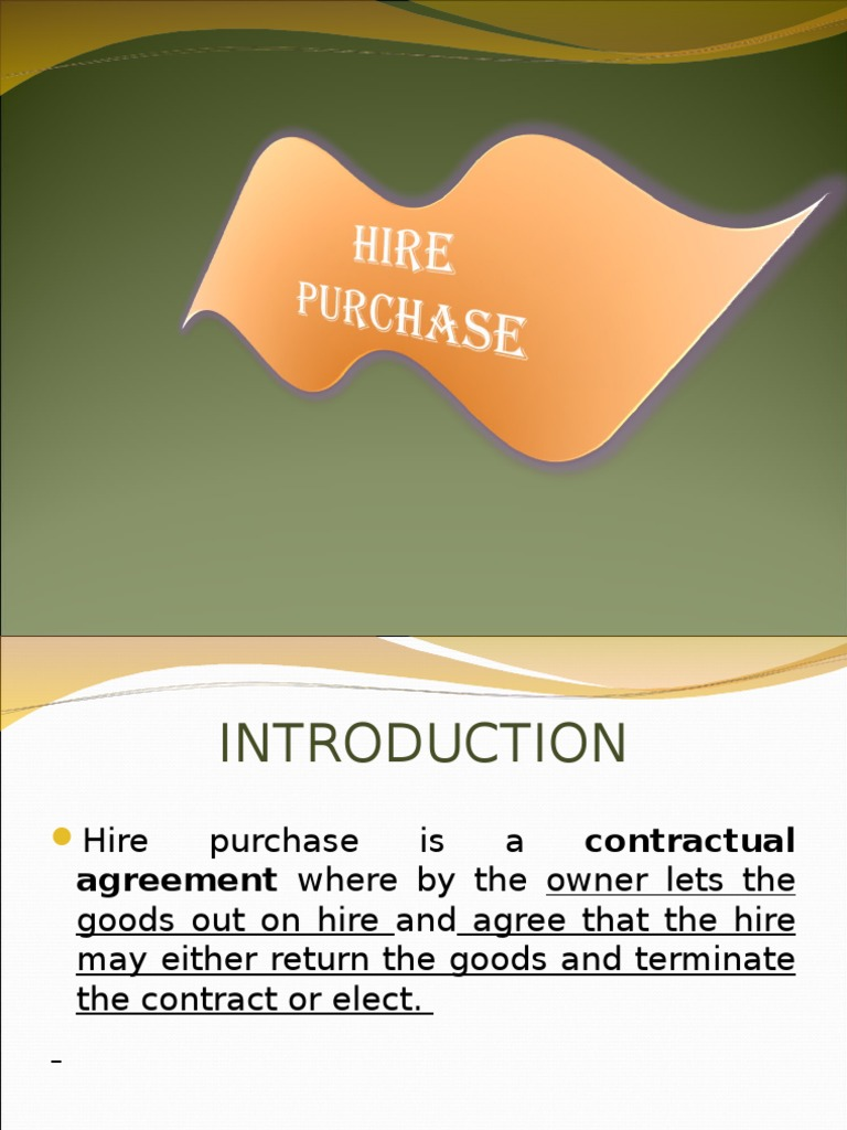 Hire Purchase By Nramesh Lease Depreciation