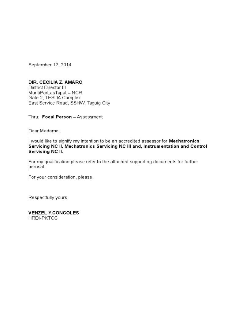letter of intent assessor new assessor