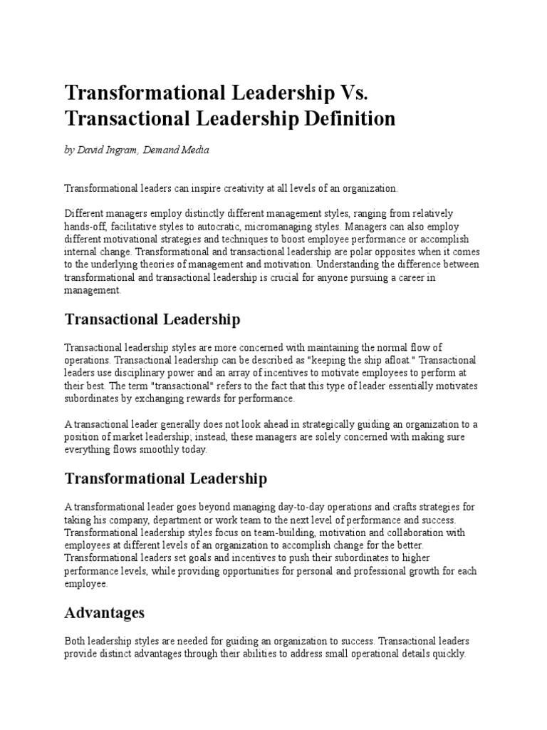 transformational leadership vs | transformational leadership