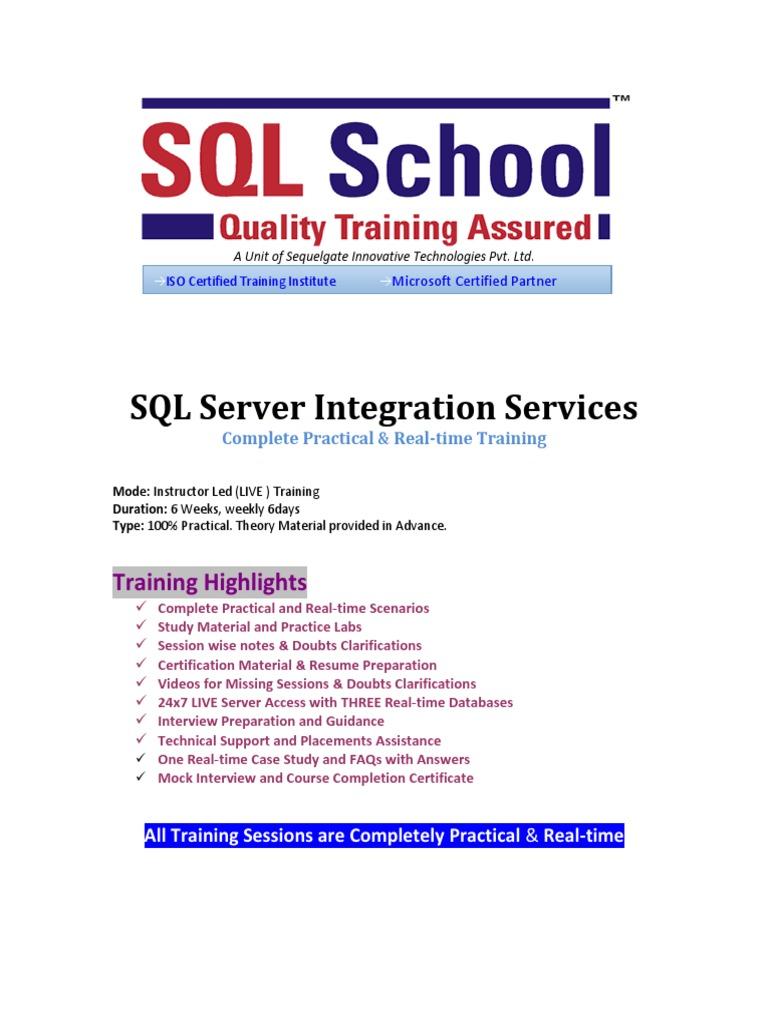 Ssis Online Trainingpdf Databases Microsoft Sql Server