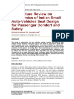 A Literature Review on Ergonomics of Indian Small Auto-Vehicles Seat Design for Passenger Comfort and Safety