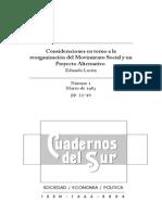 Consideraciones en torno a la reorganización del Movimiento Social y un Proyecto Alternativo Eduardo Lucita