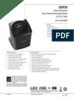 Goodman GSX16 Specifications Sheet