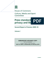 Culture, Media and Sport Select Committee report into press standards, privacy and libel