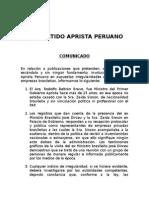 Comunicado Direccion Politica Pap - 06 de Agosto de 2015
