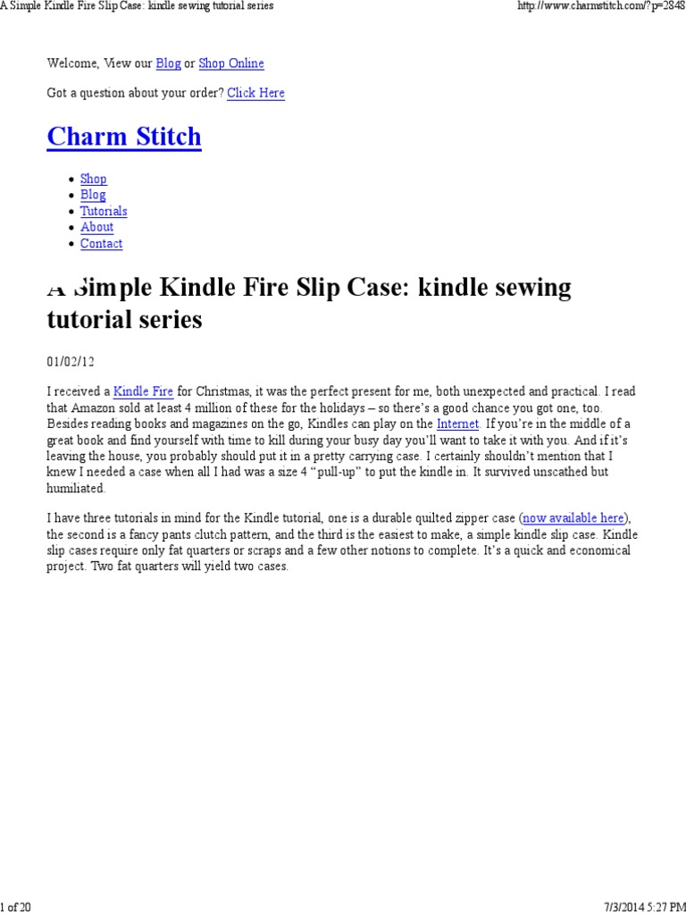 A Simple Kindle Fire Slip Case_ Kindle Sewing Tutorial