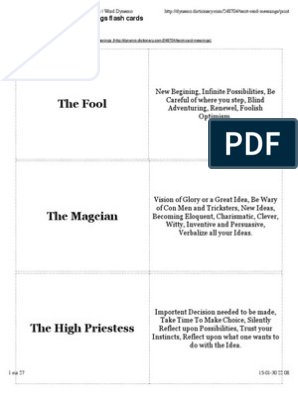 graphic about Free Printable Tarot Journal identified as No cost Printable Tarot Card Meanings Flashcards Phrase Dynamo