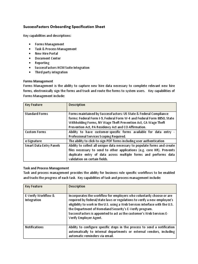 Onboarding Spec Sheet Q114 | E Verify | Employment