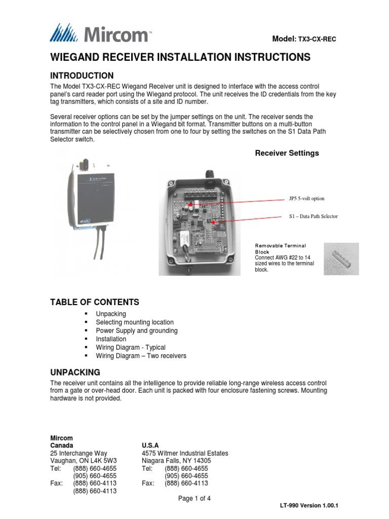 Mircom Tx3 Cx Rec User Manual Electromagnetic Interference Wiring Diagram Key Tag Antenna Radio