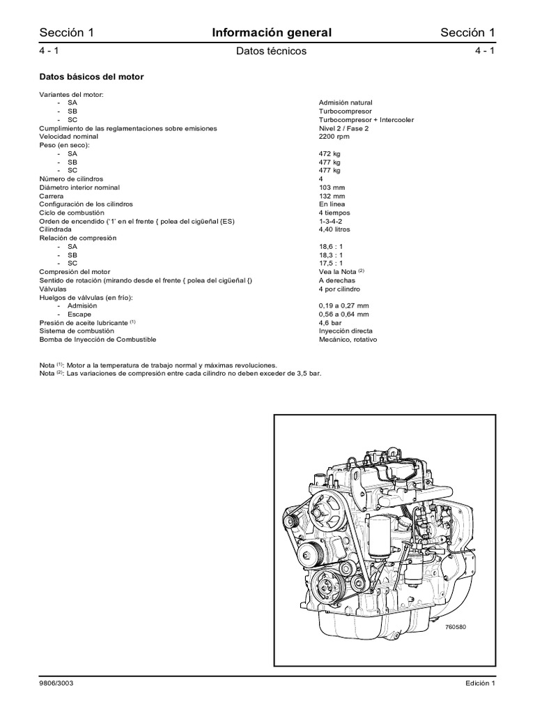 JCB 444 Engine Technical Data
