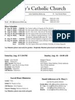 Bulletin for August 9, 2015