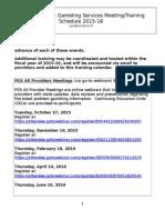 2015-16 PGS Training Calendar