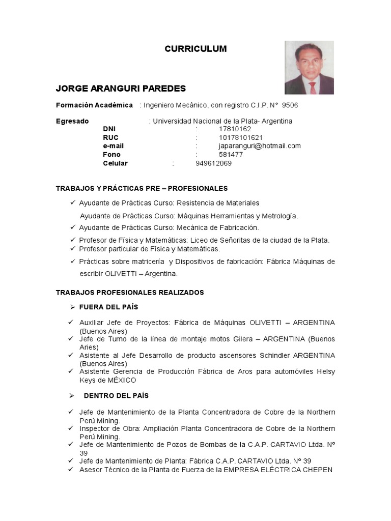 Curriculum d Ingeniero Mecanico