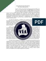 Declaración de Principios Vía Arica Parinacota