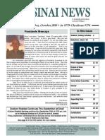 Congregation Sinai Milwaukee Newsletter--Fall, 2015