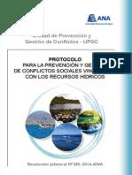 Protocolo Para La Prevencion y Gestion de Conflictos Sociales Vinculados Con Los Recursos Hidricos