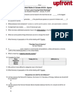 US and Canada Jigsaw Activity Worksheet