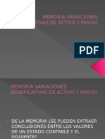 Memoria Variaciones Significativas de Activo y Pasivo