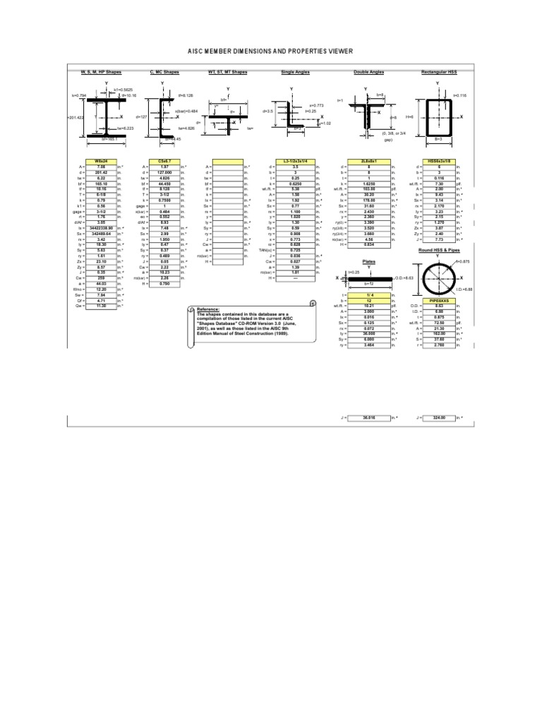 AISC Sections | Mechanical Engineering | Classical Mechanics