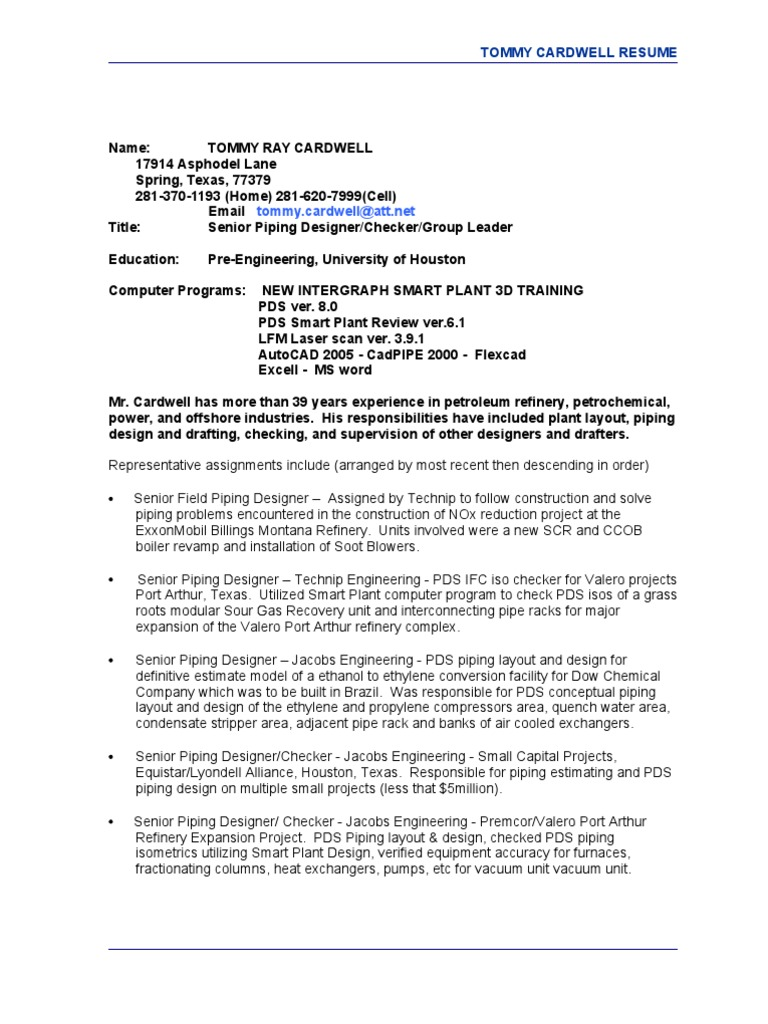 Jobswire.com Resume of tommycardwell | Oil Refinery | Natural Gas