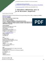 Desarrollo y Uso de Indicadores Ambientales Para La Planificación y Toma de Decisiones (Argentina)