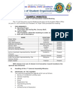 Sample Format of Minutes