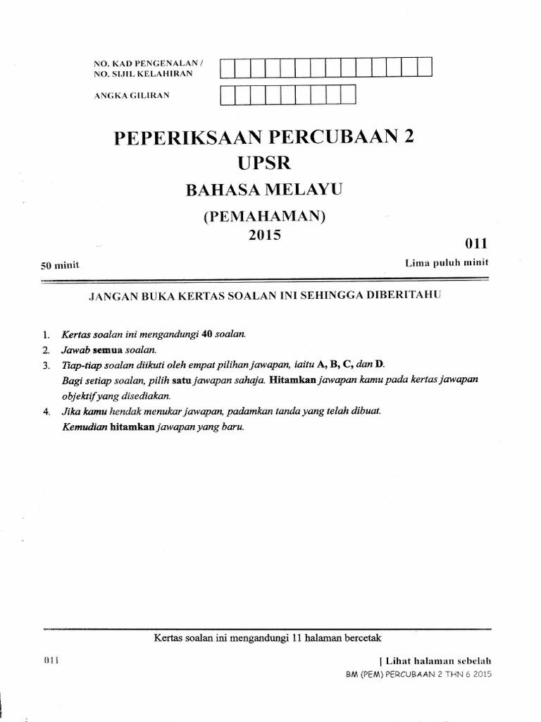 Percubaan Upsr 2015 Kelantan 2 Bm Pemahaman