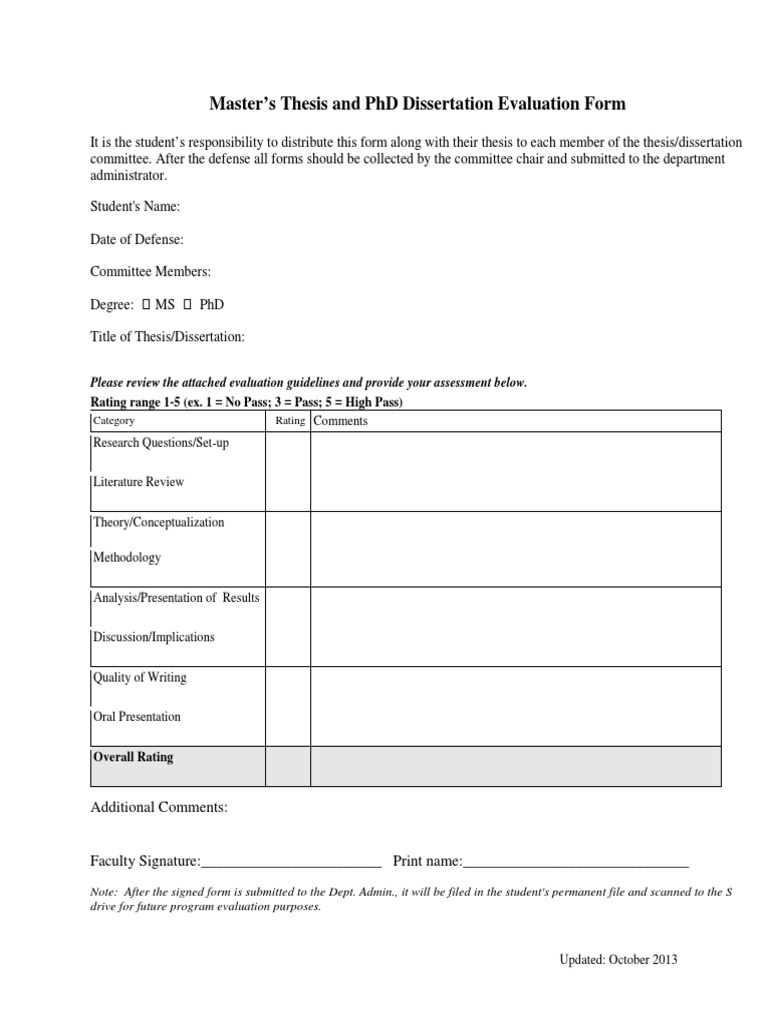 Doctoral thesis evaluation criteria