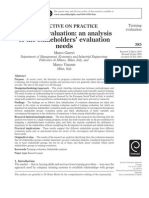 Training Evaluation an Analysis of the Stakeholders' Evaluation Needs, 2011