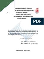 17. Evaluacion Gestion Mantenimiento Adquisicion Equipos Nivelacion Tamper y Plasser Orinoco