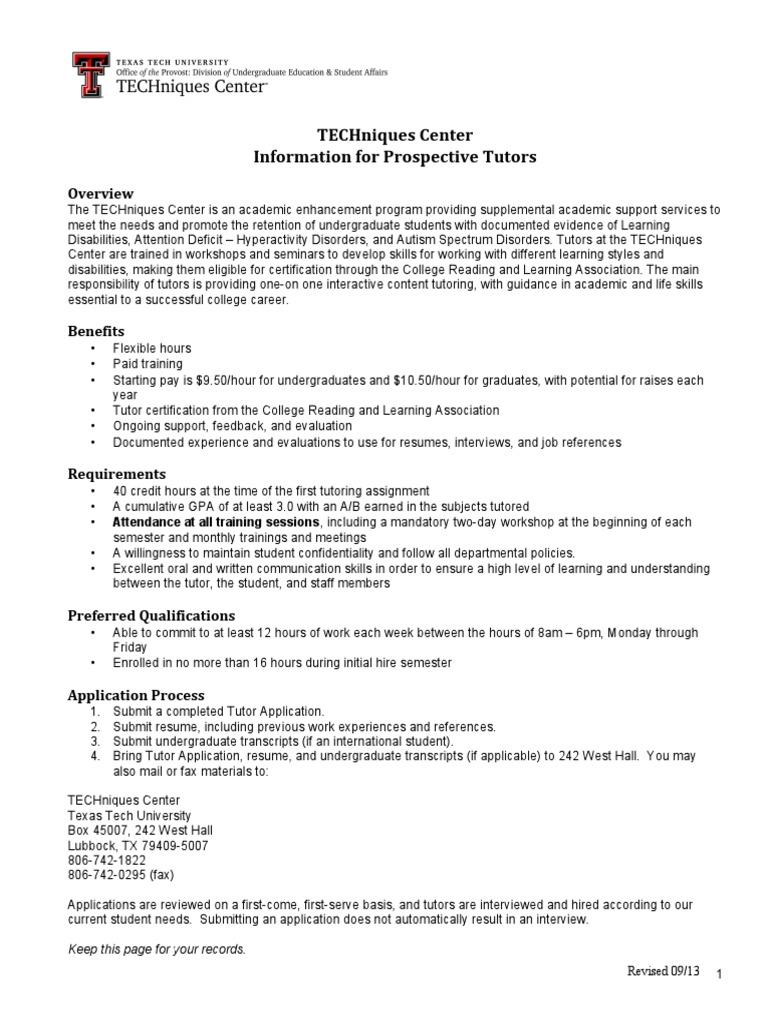 Tutor Application Texas Tech Tutor Course Credit