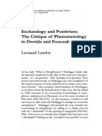 Eschatology and Positivism. the Critique of Phenomenology in Derrida and Foucault