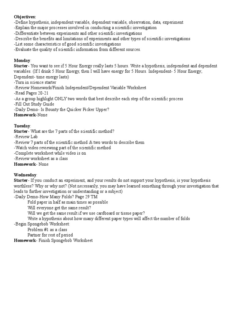 Uncategorized Scientific Method Review Worksheet sept8lessonplans scientific method experiment