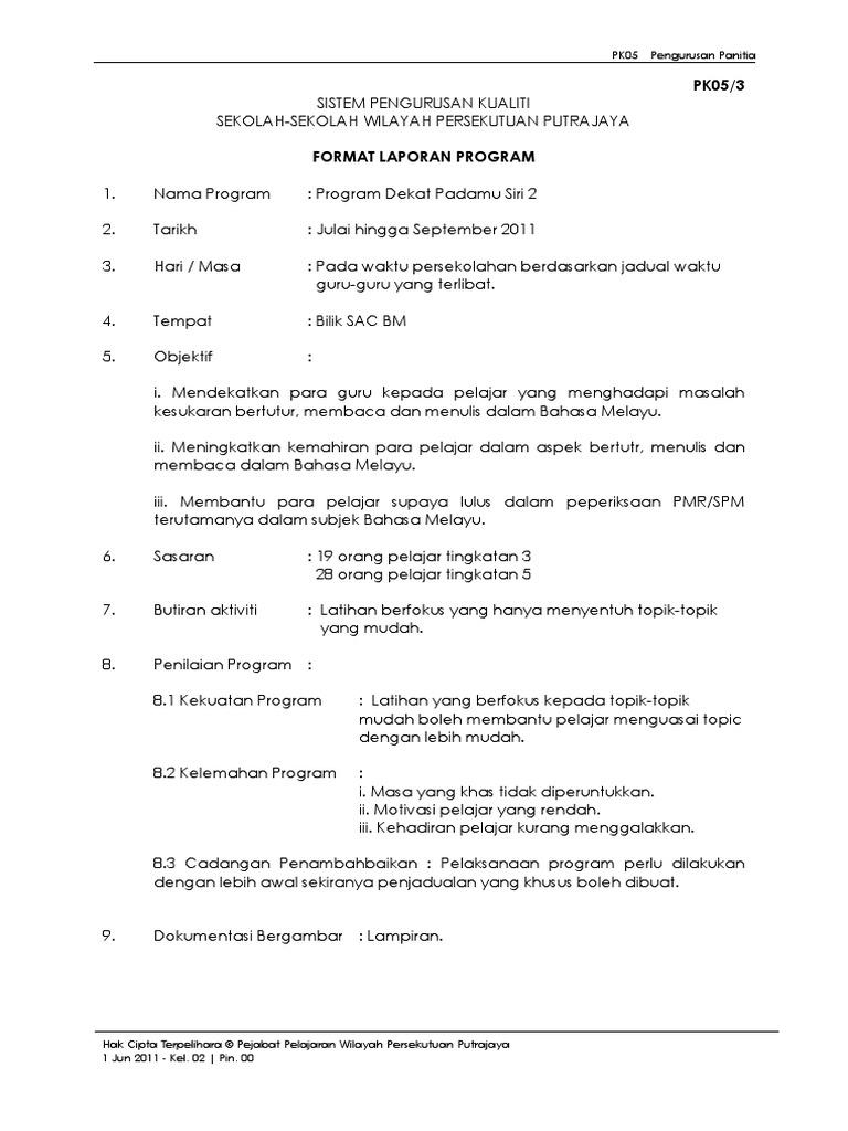 Contoh Format Laporan Program Spsk