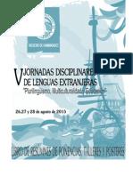 Libro de Resumenes Quintas Jornadas Disciplinares de Lenguas Extranjeras. Facultad de Humanidades, UNCa. 2015.  PDF