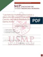 Lactancia Materna Exclusiva y Desnutrición Crónica en Infantes Del CS Materno Infantil Santa Anita