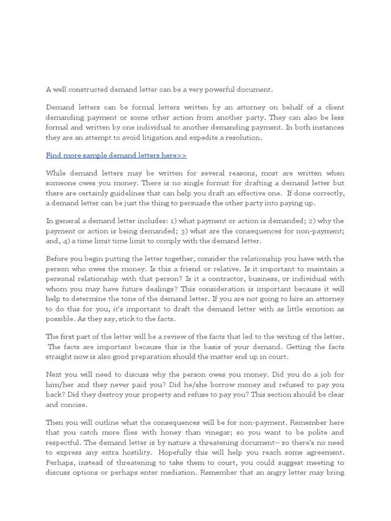 demand letter lawsuit debt
